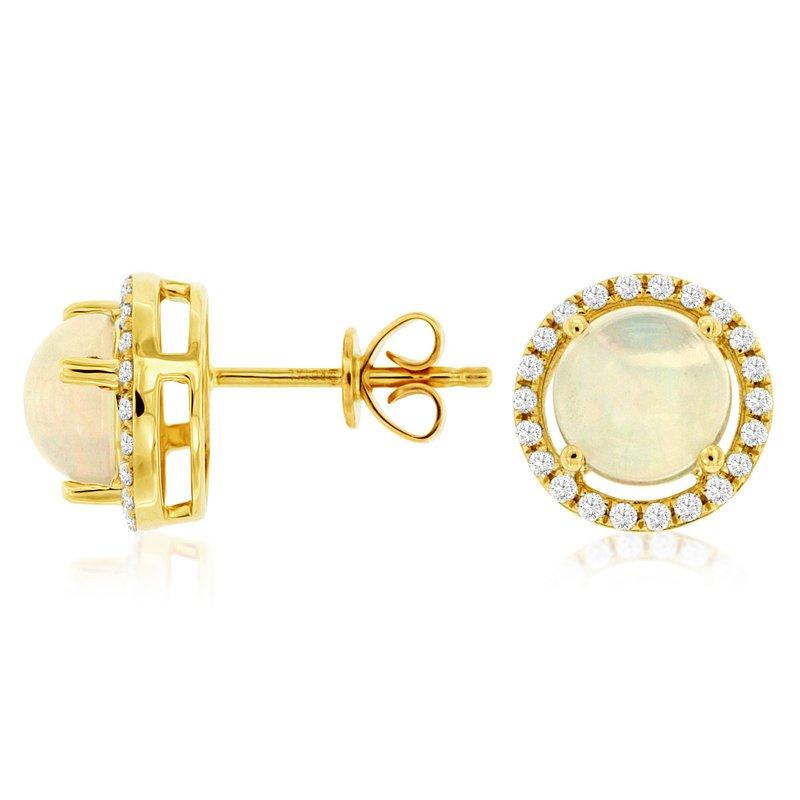 Murphy Pitard Signature Collection Opal Diamond Halo Earrings