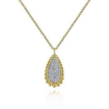 Teardrop Diamond & Beaded Pendant Necklace