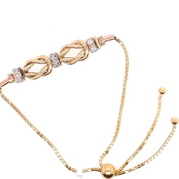 Diamond & Gold Knot Bolo Tennis Bracelet Starter