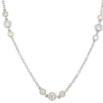 Diamond Station Necklace with Milgrain Bezels