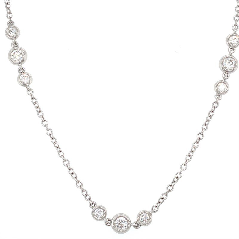 Murphy Pitard Signature Collection Diamond Station Necklace with Milgrain Bezels