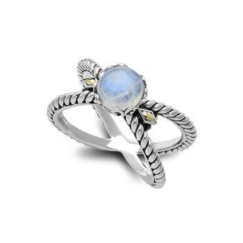 Silver Rainbow Moostone Ring