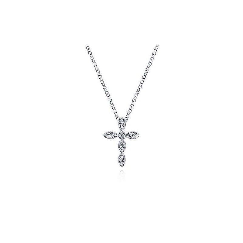 Gabriel & Co. New York Diamond Marquise Shape Cross Pendant Necklace