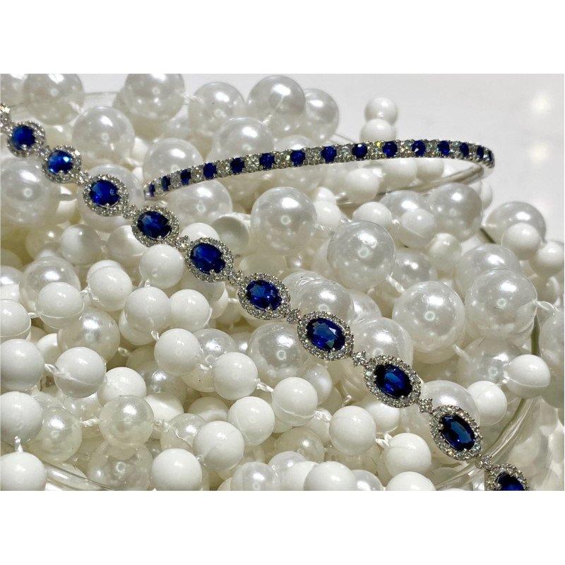 Murphy Pitard Signature Collection Oval Sapphire & Diamond Halo Tennis Bracelet