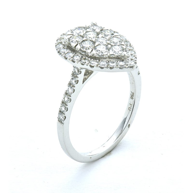 Murphy Pitard Signature Collection Diamond 1-1/4 Carats Pear Cluster Halo Ring
