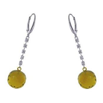 Cognac Quarts Ball Drop Diamond Earrings