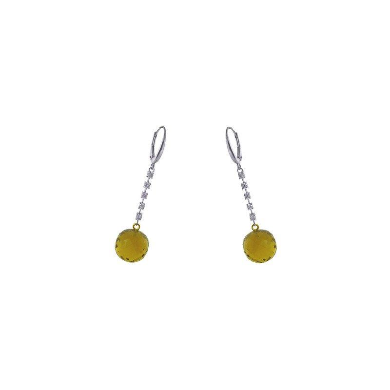 Murphy Pitard Signature Collection Cognac Quarts Ball Drop Diamond Earrings