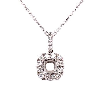 Cushion Shaped Diamond Halo Pendant Mounting