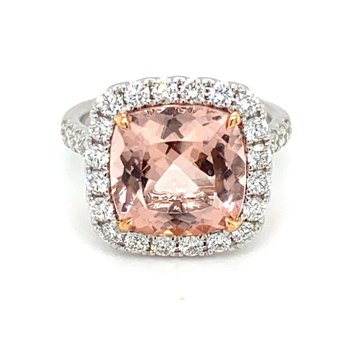 Morganite & Diamond Halo Fashion Ring