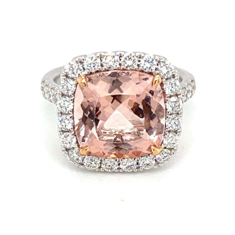 Murphy Pitard Signature Collection Morganite & Diamond Halo Fashion Ring