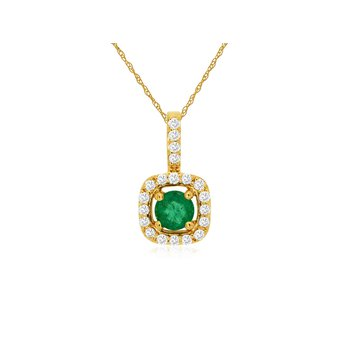 Diamond Halo Emerald Pendant Necklace