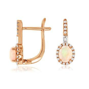 Opal & Diamond Halo Drop Earrings