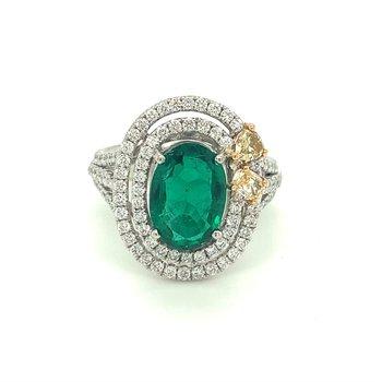 Oval Emerald & Diamond Double Halo Split Band Ring