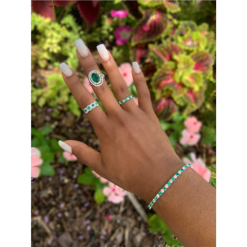 Murphy Pitard Signature Collection Oval Emerald & Diamond Double Halo Split Band Ring