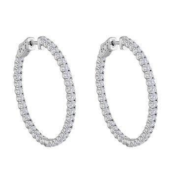 Diamond 1/2 Carat Medium Inside Outside Hoop Earrings