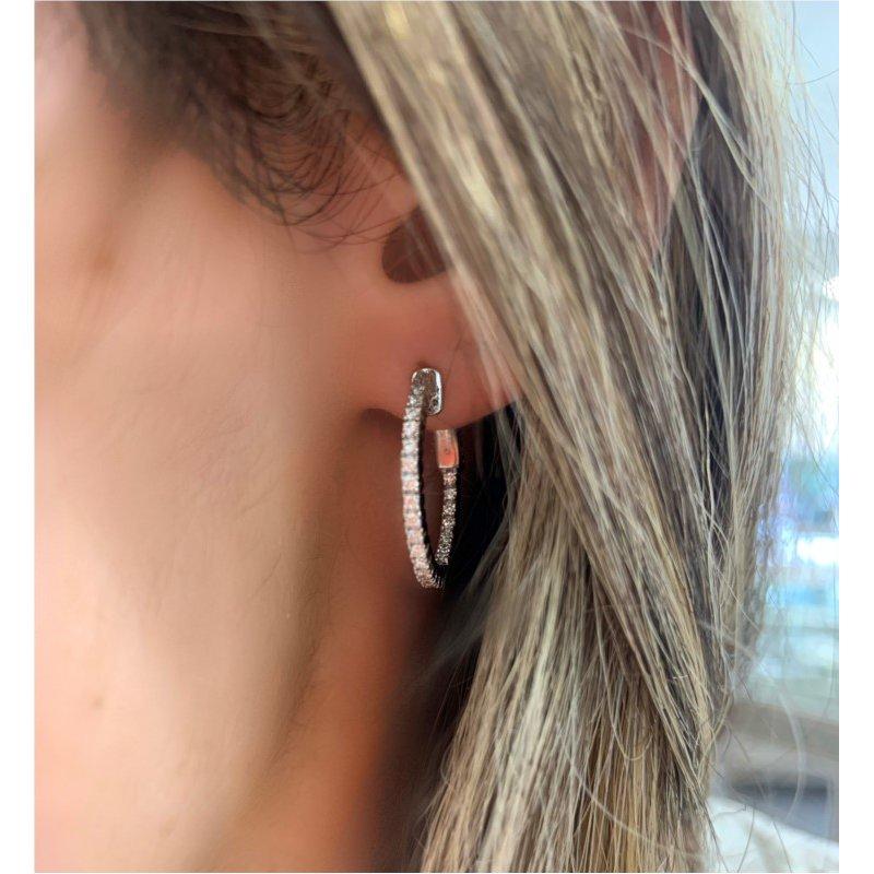 Murphy Pitard Signature Collection Diamond 1/2 Carat Medium Inside Outside Hoop Earrings