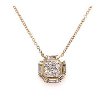 Diamond & Baguette Cluster Halo Necklace