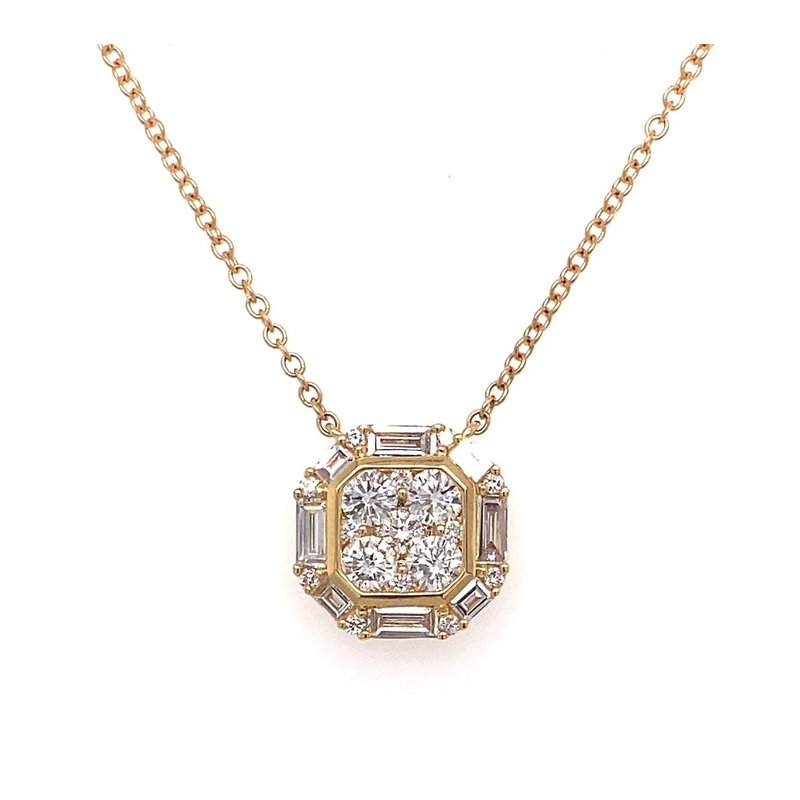 Murphy Pitard Signature Collection Diamond & Baguette Cluster Halo Necklace