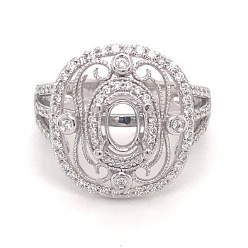 Diamond Vintage inspires Oval Center Fashion Ring