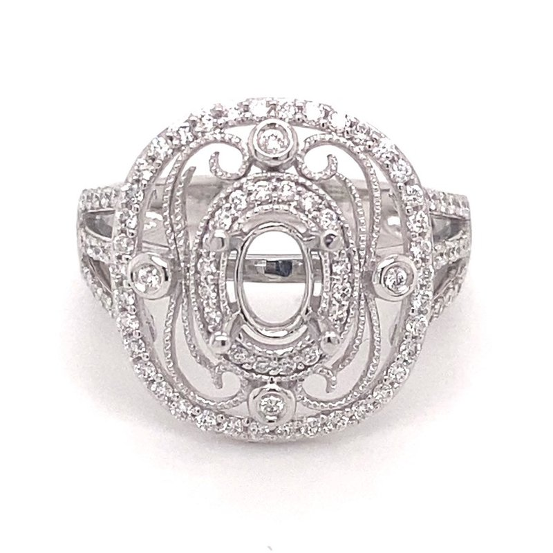 Murphy Pitard Signature Collection Diamond Vintage inspires Oval Center Fashion Ring