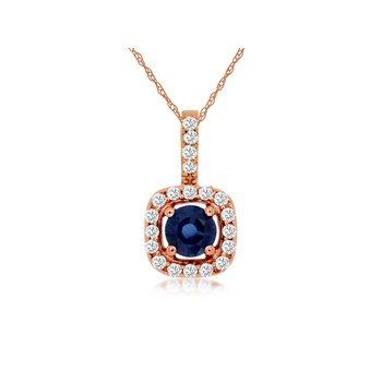 Sapphire & Diamond Halo Pendant Necklace