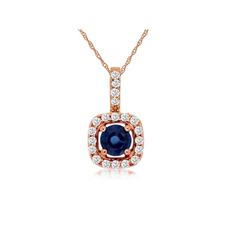 Murphy Pitard Signature Collection Sapphire & Diamond Halo Pendant Necklace