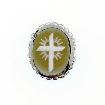 Yellow Cameo Cross Oval Bezel