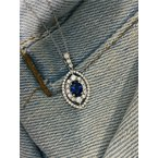 Murphy Pitard Signature Collection Oval Sapphire & Diamond Halo Pendant