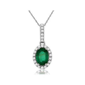 Oval Emerald Diamond Halo Pendant Necklace