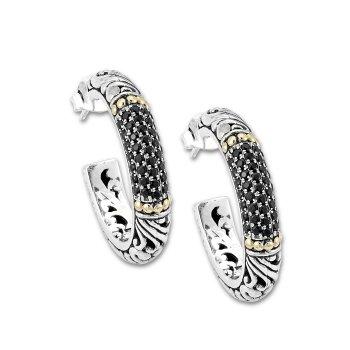 Large Black Spinel Hoop Earrings