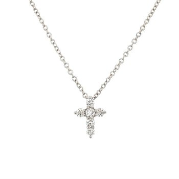 Diamond Mini Cross Pendant Necklace