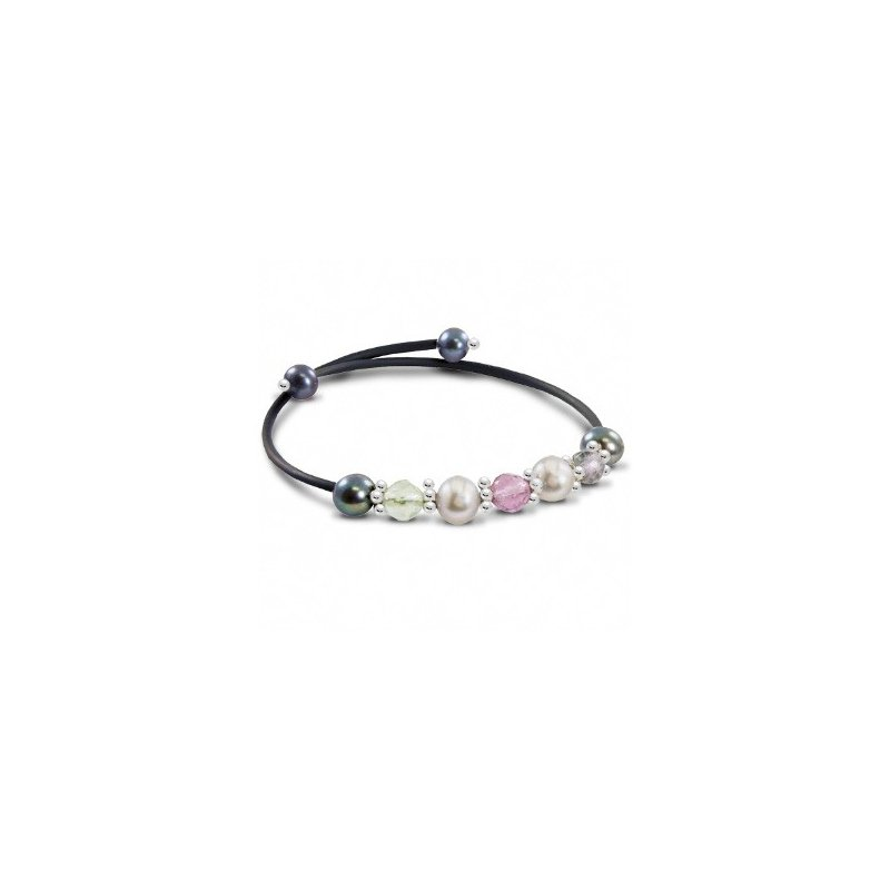 Murphy Pitard Signature Collection Freshwater Grey Pearl & Gemstone Bangle Bracelet