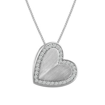 Radiant Universe 1/10 Carats Diamond Heat I Love You Pendant Necklace