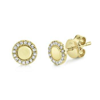 Diamond Halo & Polish Stud Earrings