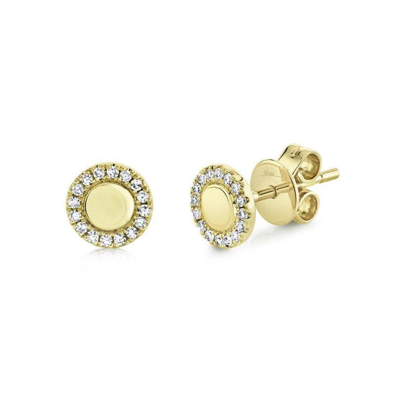 Shy Creation Diamond Halo & Polish Stud Earrings