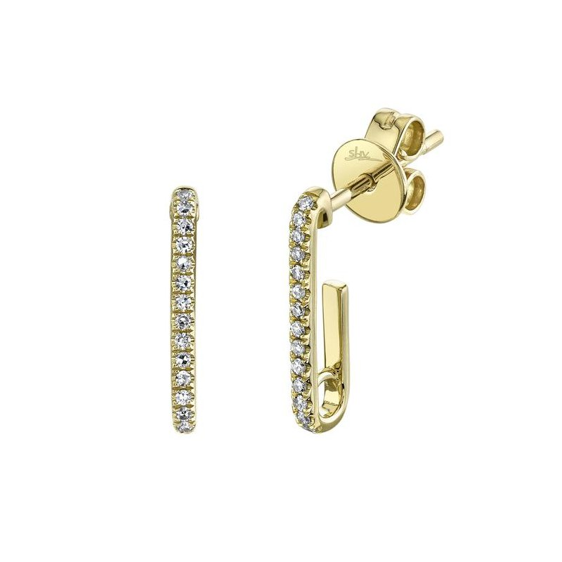 Shy Creation Diamond Paper clip Earrings