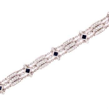 Vintage Inspired Diamond & Sapphire Bracelet
