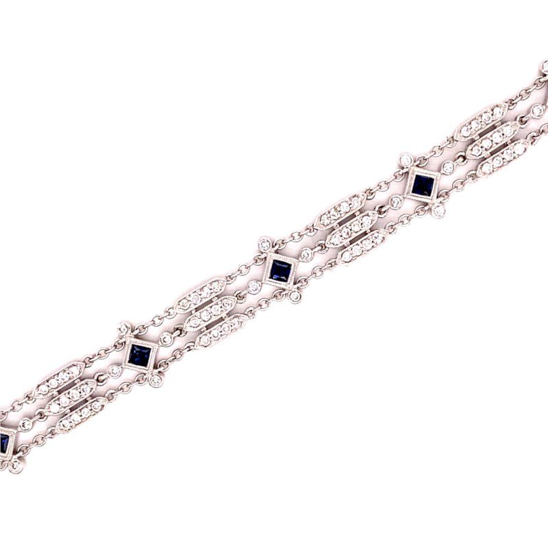 Murphy Pitard Signature Collection Vintage Inspired Diamond & Sapphire Bracelet