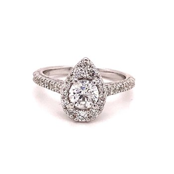 Round Diamond Pear 1 1/4 Carats Halo Engagement Ring