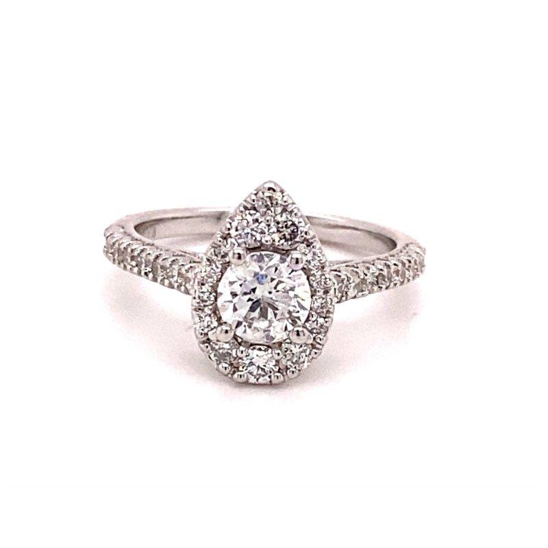 Murphy Pitard Signature Collection Round Diamond Pear 1 1/4 Carats Halo Engagement Ring