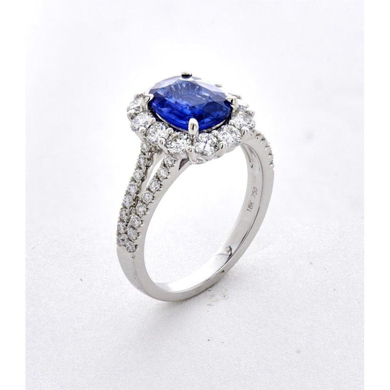 Murphy Pitard Signature Collection Diamond Sapphire Halo Ring