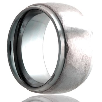 Men's Tungsten Hammered Finish Wedding Band, Size 8.5