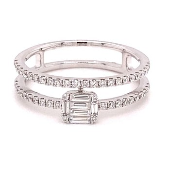 Diamond Round & Baguette Fashion Split Band