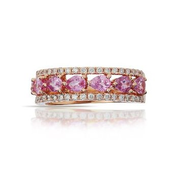 Pink Sapphiret & Diamond Band