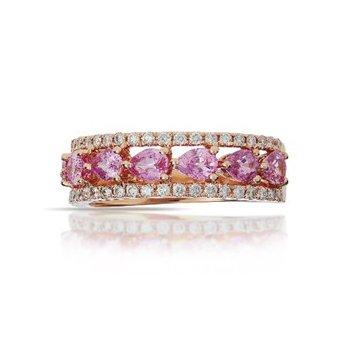 Pink Sapphiret & Diamond Band