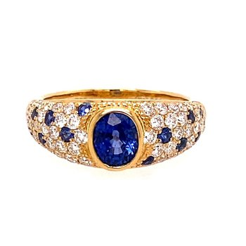 Sapphire & Diamond Domed Pavée Fashion Ring