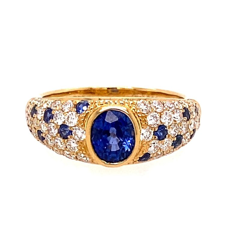 Murphy Pitard Signature Collection Sapphire & Diamond Domed Pavée Fashion Ring