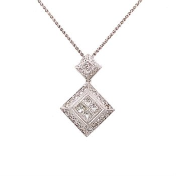 Vintage Inspired Diamond & Princess Cut Diamond Pendant