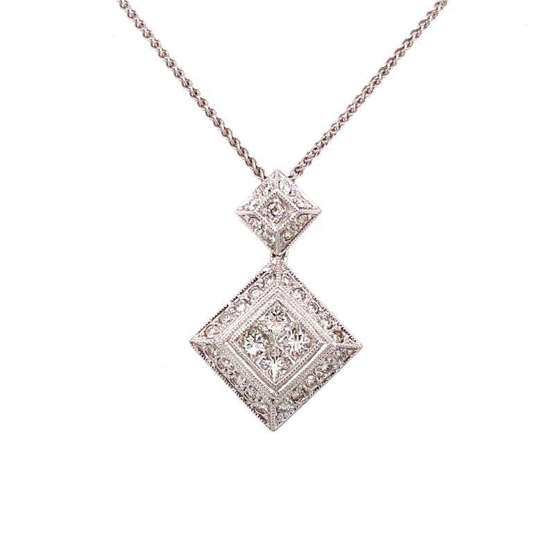 Murphy Pitard Signature Collection Vintage Inspired Diamond & Princess Cut Diamond Pendant