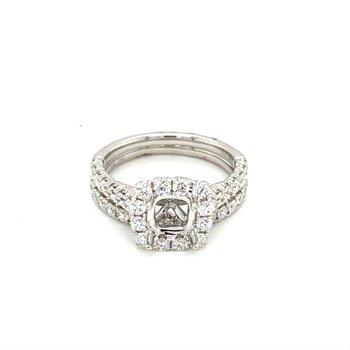 Diamond Square Halo Engagement Ring & Matching Straight Anniversary Band